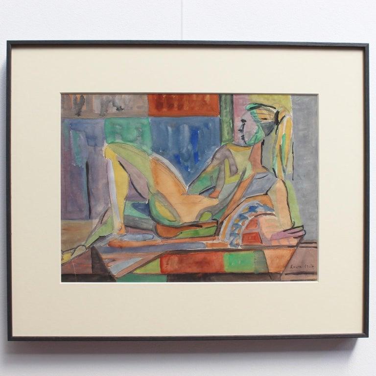 Reclining Nude Model - Painting by Kosta Stojanovitch