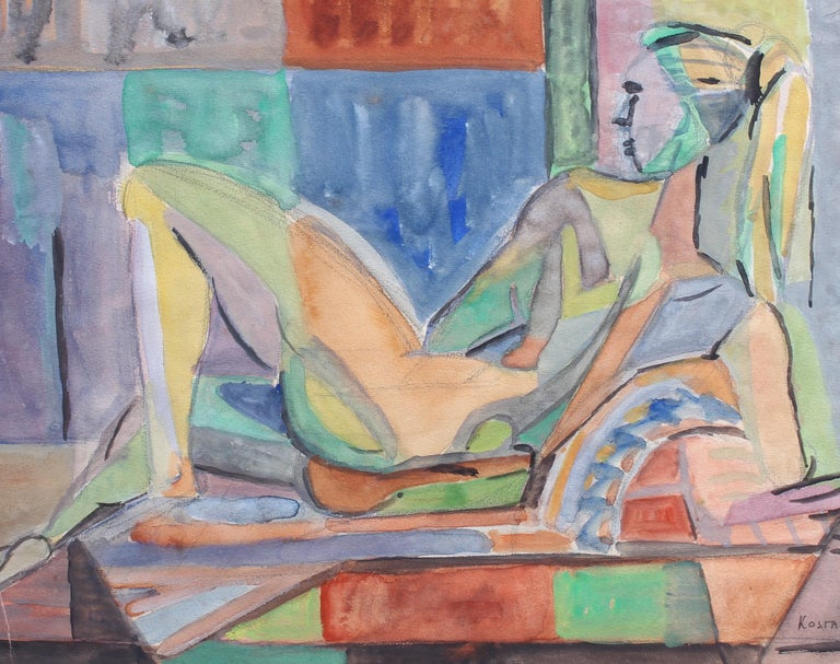 A cubist nude portrait of a reclining woman in model pose, in gouache on fine art paper (1957), by artist Kosta Stojanovitch. This work is one in a series of four images. Here, a shapely model lies in repose for the artist. She seems perfectly at