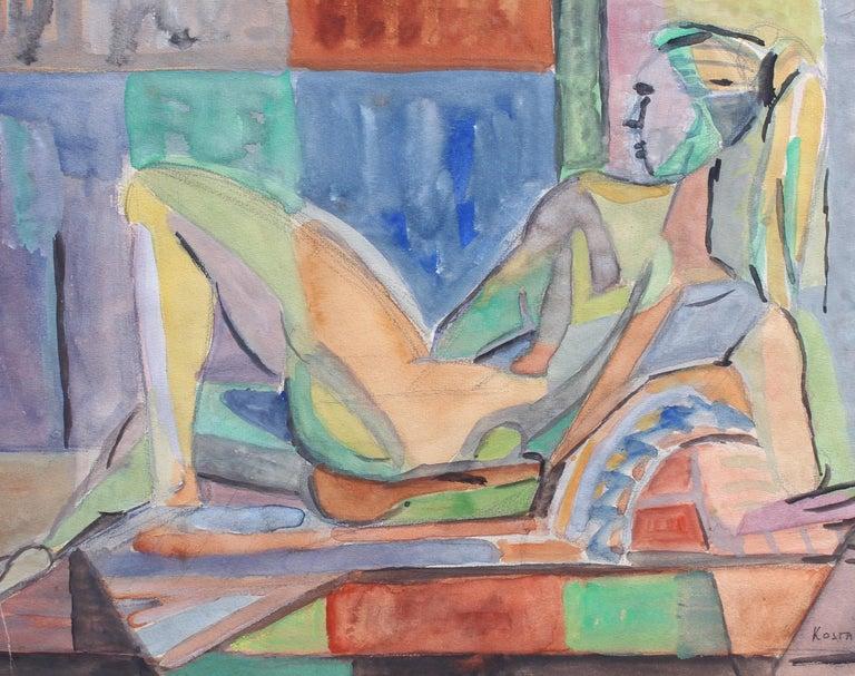 Kosta Stojanovitch Nude Painting - Reclining Nude Model