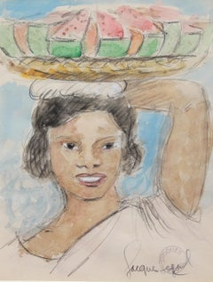 'Woman Carrying Watermelon' by Jacques Segal, Watercolour Portrait, circa 1970s