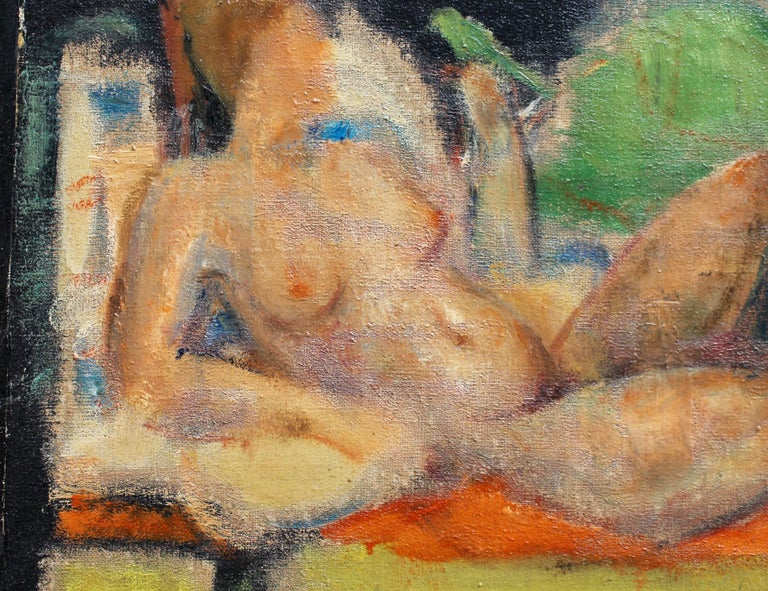 'Reclining Nude with Parakeet' by L Hauet, Oil Portrait Painting circa 1950s For Sale 3