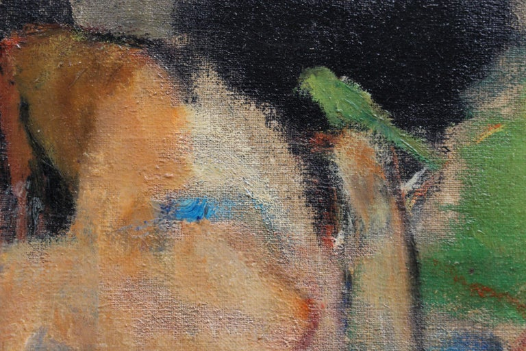 'Reclining Nude with Parakeet' by L Hauet, Oil Portrait Painting circa 1950s For Sale 8