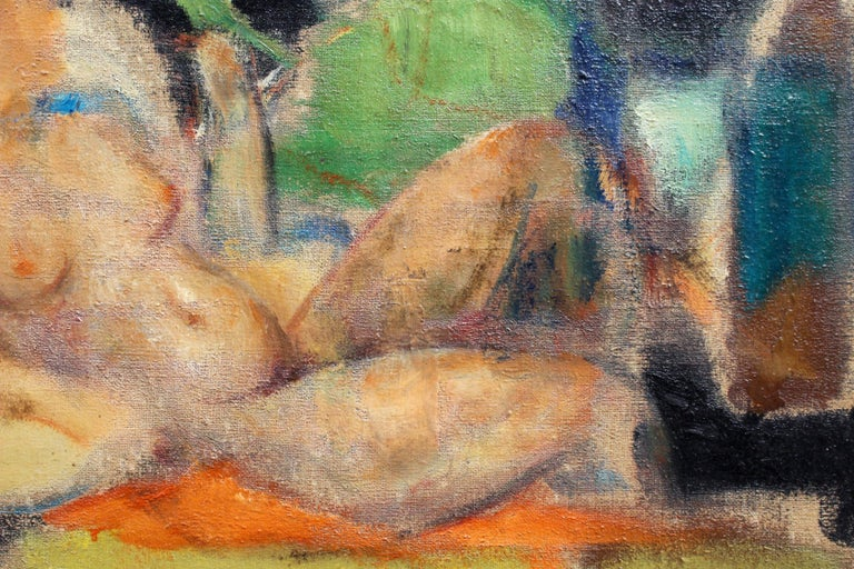 'Reclining Nude with Parakeet' by L Hauet, Oil Portrait Painting circa 1950s For Sale 4