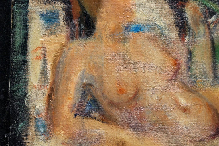 'Reclining Nude with Parakeet' by L Hauet, Oil Portrait Painting circa 1950s For Sale 2