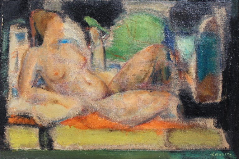 L Hauet  Nude Painting - 'Reclining Nude with Parakeet' by L Hauet, Oil Portrait Painting circa 1950s