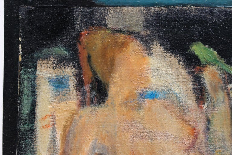 'Reclining Nude with Parakeet' by L Hauet, Oil Portrait Painting circa 1950s For Sale 1