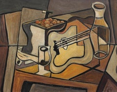 'Cubist Still Life on Table' by J.G., Mid-Century Modern Oil Painting