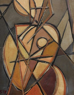 'Portrait of Woman in the Mirror' by STM, Mid-Century Modern Cubist Oil Painting