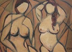 'Posing Models' by STM, Mid-Century Modern Oil Painting, Berlin