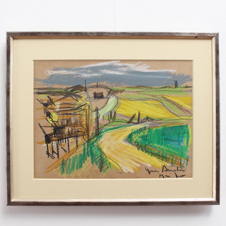 Scenic Landscape Overlook, wax crayon on brown paper, by French artist, Yves Amelin (circa 1970s). Executed completely in bright coloured crayons, this is a surprisingly sophisticated modern work of art which belies one's initial impression that it