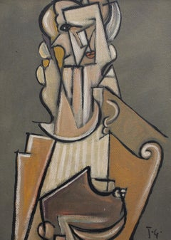 'Musician with Harp' by J.G., Mid-Century Modern Cubist Oil Portrait, Berlin