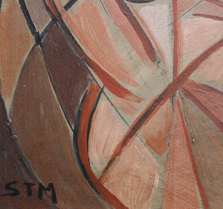 'Refraction' by STM, Mid-Century Modern Cubist Oil Portrait Painting, Berlin For Sale 9