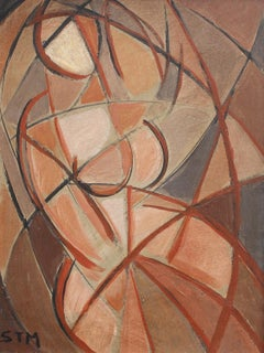 'Refraction' by STM, Mid-Century Modern Cubist Oil Portrait Painting, Berlin