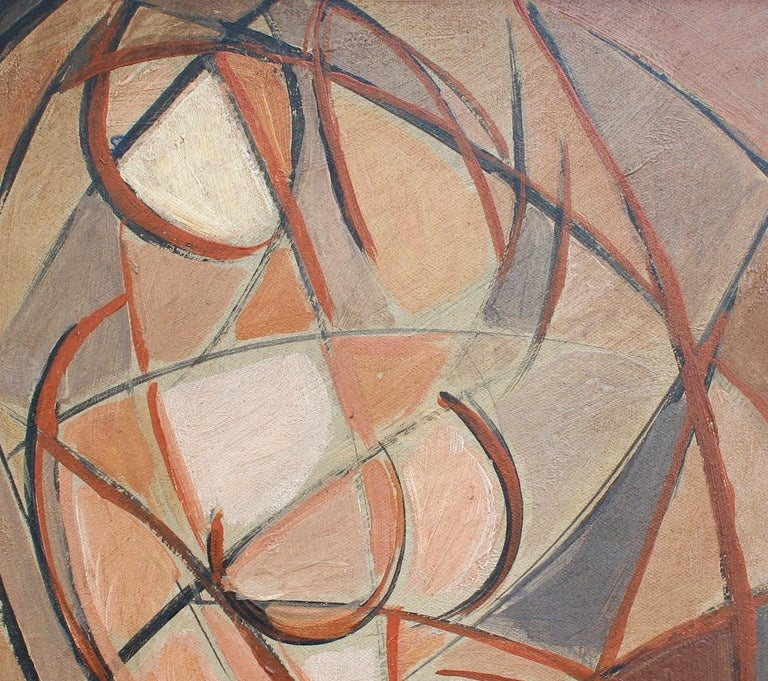 'Refraction' by STM, Mid-Century Modern Cubist Oil Portrait Painting, Berlin For Sale 3