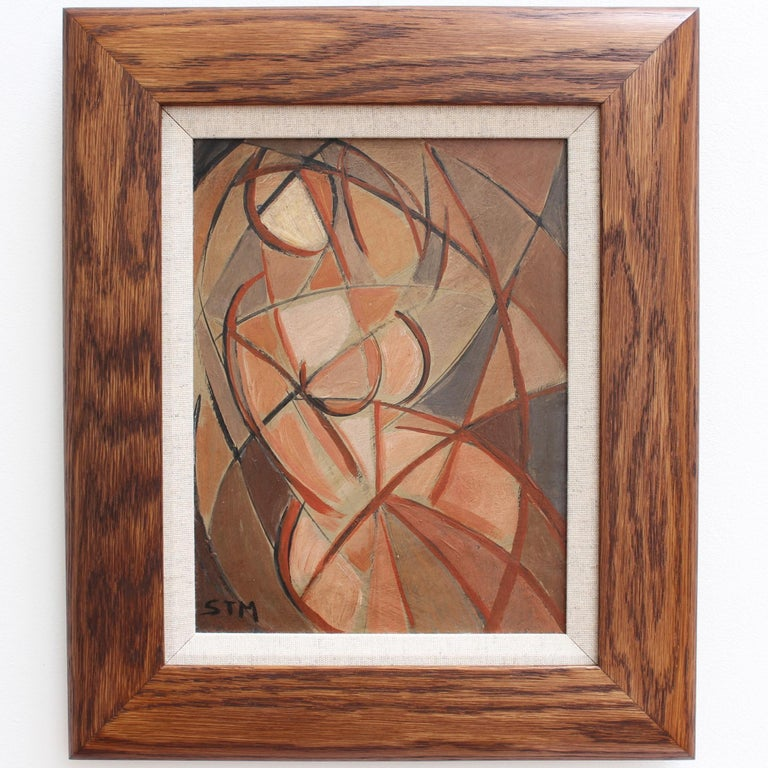'Refraction' by STM, Mid-Century Modern Cubist Oil Portrait Painting, Berlin For Sale 1