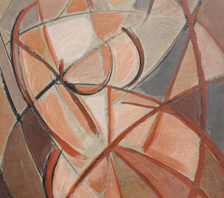 'Refraction' by STM, Mid-Century Modern Cubist Oil Portrait Painting, Berlin For Sale 7