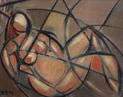 'Portrait of Reclining Woman' by STM, Mid-Century Cubist Oil Painting, Berlin