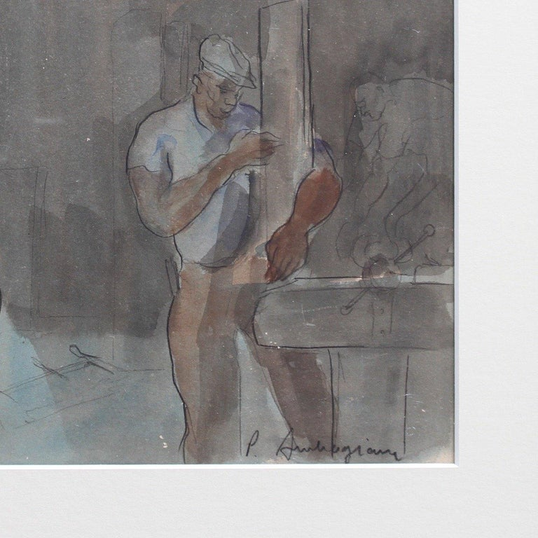 'Carpenter and Nursing Mother', pencil, ink and gouache on paper (c. 1960s). A mother breast feeding her infant looks on peacefully at the father of the child as he works the tools of the trade in a joiner's workshop. The mother and baby bathed in