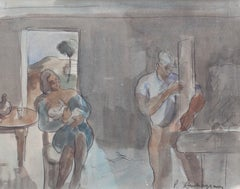 'Carpenter and Nursing Mother' by Pierre Ambrogiani, Mid-Century French Gouache