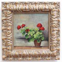 'Still Life of Potted Plant with Red Flowers', Mid-Century Italian Oil Painting