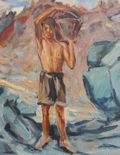 'Portrait of Boy-Haulier With Bucket', Mid-Century Italian Oil Portrait, 1950