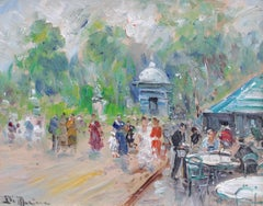 'Sunday in the Park' by Francesco Di Marino, Italian Impressionist Oil Painting