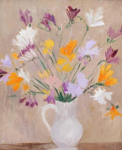'Bouquet of Flowers with White Pitcher', Still Life French Oil Painting
