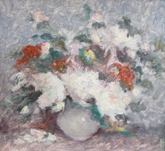 'Still Life Bouquet of Flowers' by Vernìere, Impressionist Oil Painting