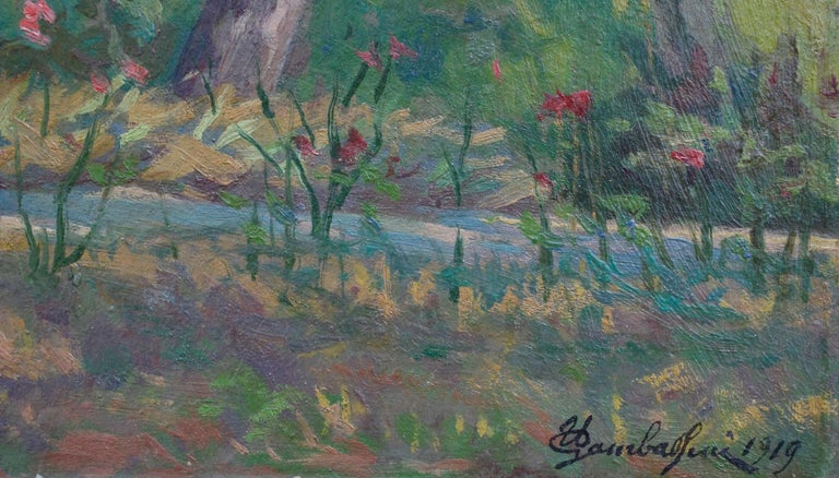 'Verdant Tuscan Forest View' by Umberto Gambassini, Italian Oil Landscape  For Sale 6