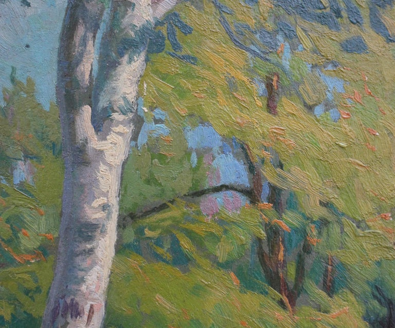 'Verdant Tuscan Forest View' by Umberto Gambassini, Italian Oil Landscape  For Sale 3