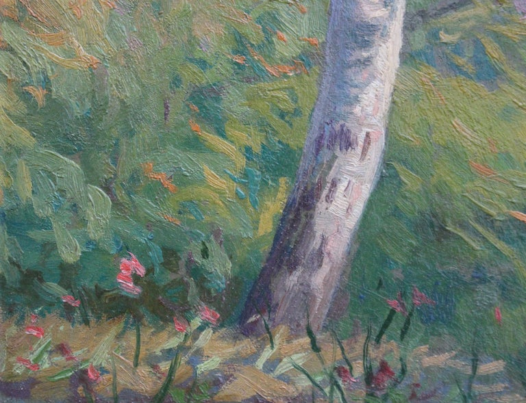 'Verdant Tuscan Forest View' by Umberto Gambassini, Italian Oil Landscape  For Sale 1