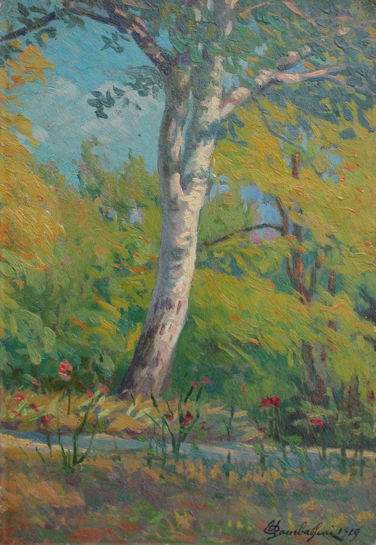 Umberto Gambassini  Landscape Painting - 'Verdant Tuscan Forest View' by Umberto Gambassini, Italian Oil Landscape