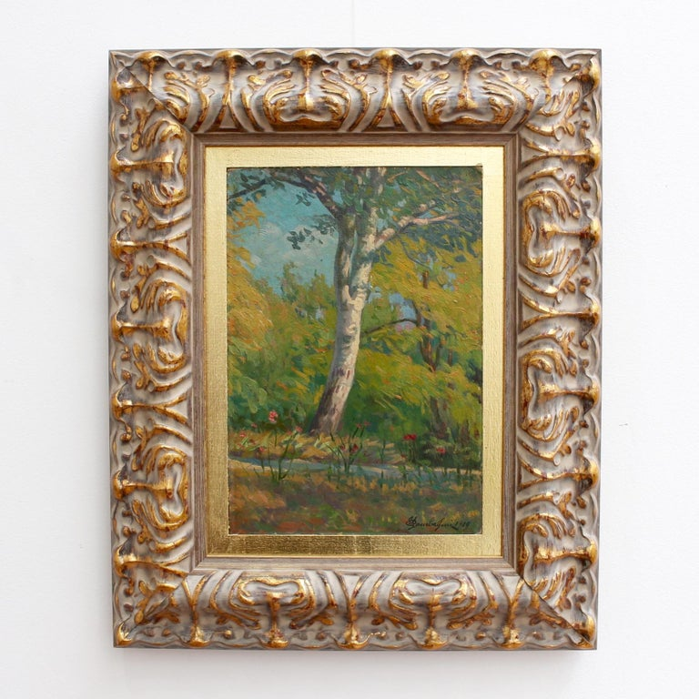 'Verdant Tuscan Forest View' by Umberto Gambassini, Italian Oil Landscape  - Painting by Umberto Gambassini