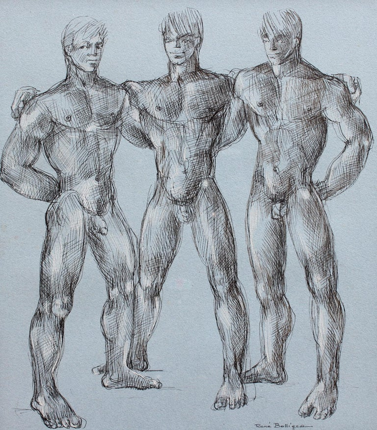 'Muscles, Muscles and More Muscles' by René Bolliger, Male Nude Erotica c. 1960s - Art by René Bolliger