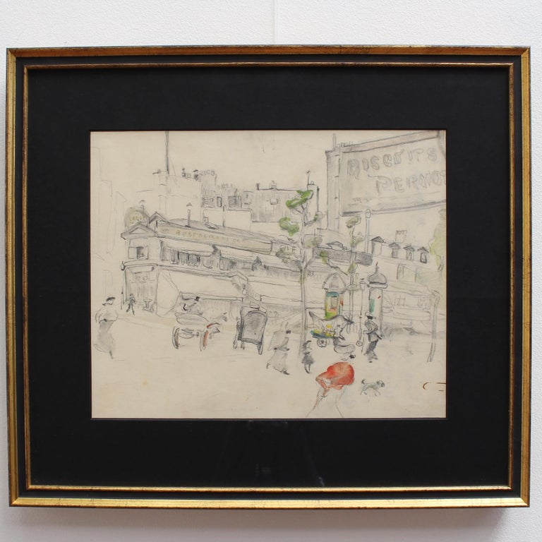 Set of two historical pencil drawings on art paper of early 20th-century Paris (circa 1900). Discovered in the South of France, these two pencil drawings have neatly recorded vignettes of Parisian life in the early 1900s. Horse-drawn carts and