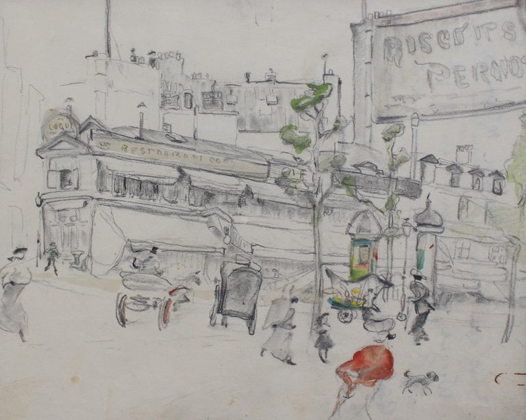 Unknown Landscape Art - Set of Two Historical Pencil Drawings of Early 20th Century Paris