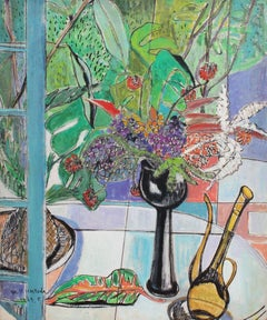 'Still Life with Bouquet and Carafe', Mid-Century Japanese Botanical Art