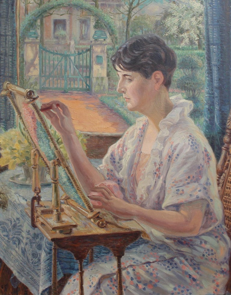 Franz Ludwig Kiederich Portrait Painting - Woman by the Window with Embroidery Frame