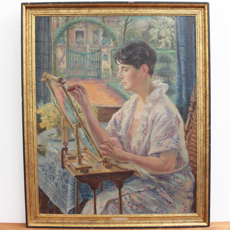 Woman by the Window with Embroidery Frame - Painting by Franz Ludwig Kiederich