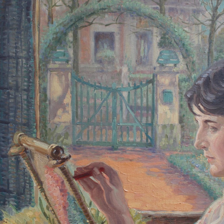 Woman by the Window with Embroidery Frame - Gray Portrait Painting by Franz Ludwig Kiederich
