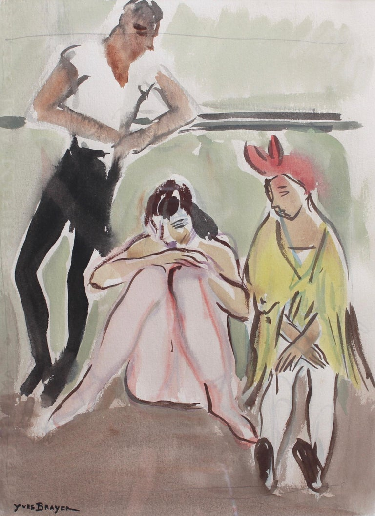 Yves Brayer Figurative Art - Ballet Dancers at the Opera de Paris