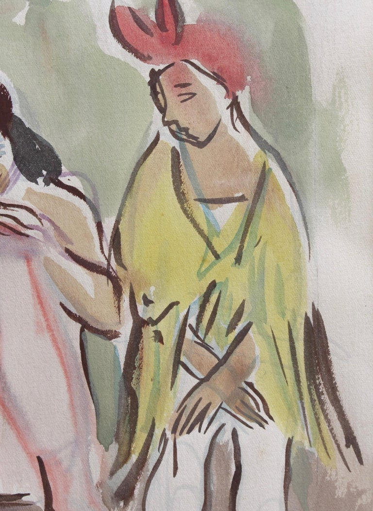 'Ballet Dancers at the Opera de Paris', watercolour on fine paper, by Yves Brayer (circa 1940s). While a costume and set-designer at the Opera in Paris in the 1940s, Brayer was fascinated by the dancers with whom he came into contact on a daily