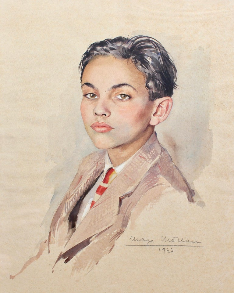 'Portrait of Suited Boy', gouache on fine art paper, by Max Moreau (1943). A fine portrait of a well-to-do boy from the period during WWII. Moreau deftly captured the boy's delicate features and his confident regard - that certain immodest look that