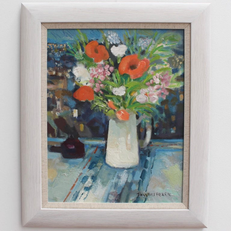 Bouquet with White Jug - Painting by Jacques Petit