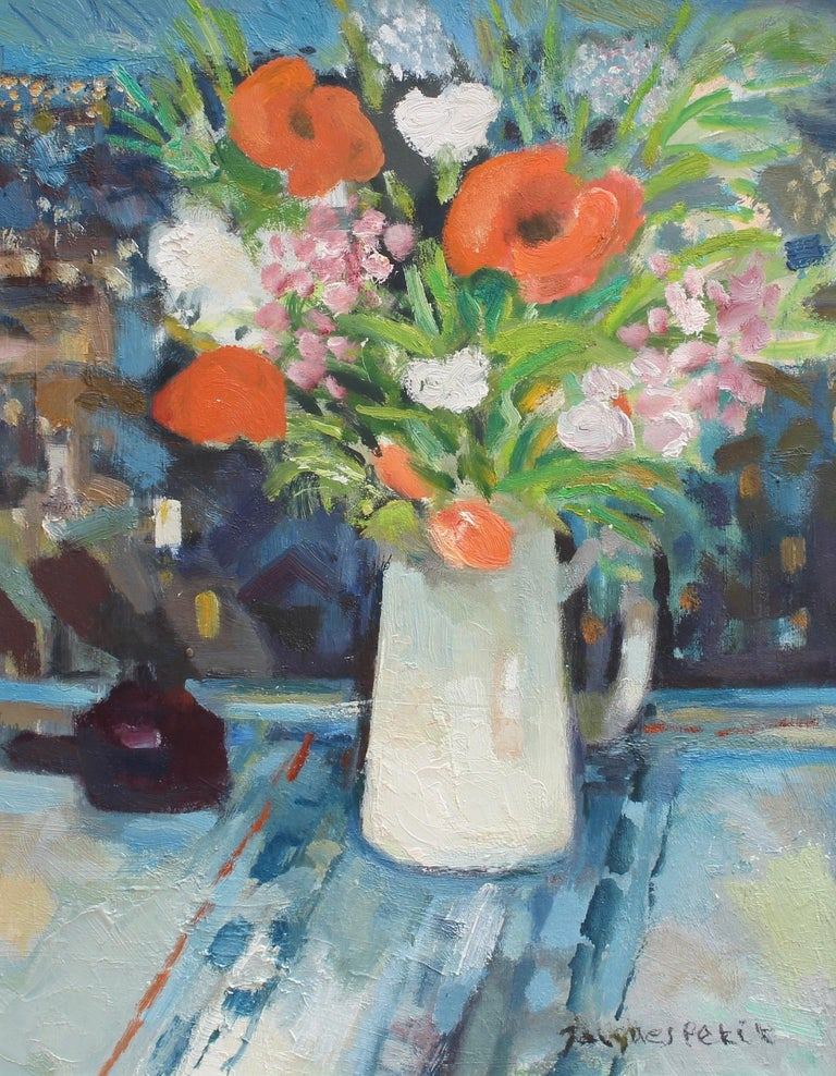 Jacques Petit Interior Painting - Bouquet with White Jug