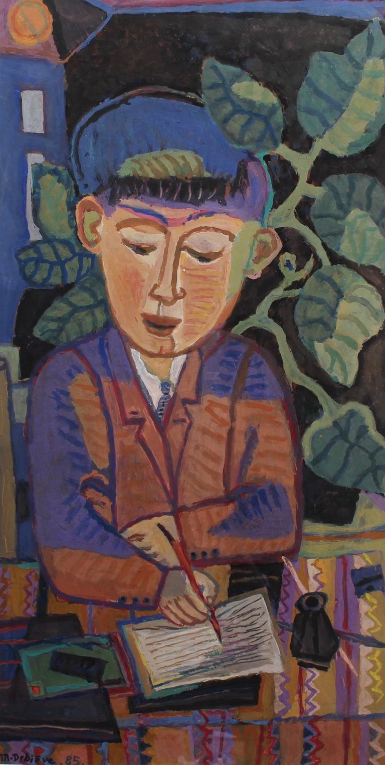'The Letter', gouache on fine art paper, by Michel Debiève, (1985). A serious looking young man in suit and tie intently writes a letter - the old fashioned kind - with fountain pen, while sitting at his desk. Behind him, a vast green plant with
