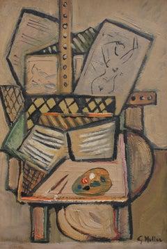 Still Life - Artist's Studio by G. Muller (circa 1940s - 1960s)