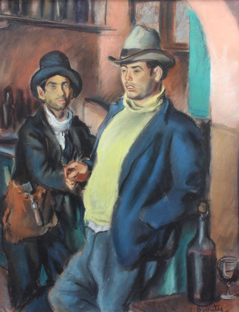 Charles Brouty Portrait Painting - Men Drinking Wine in French Algeria