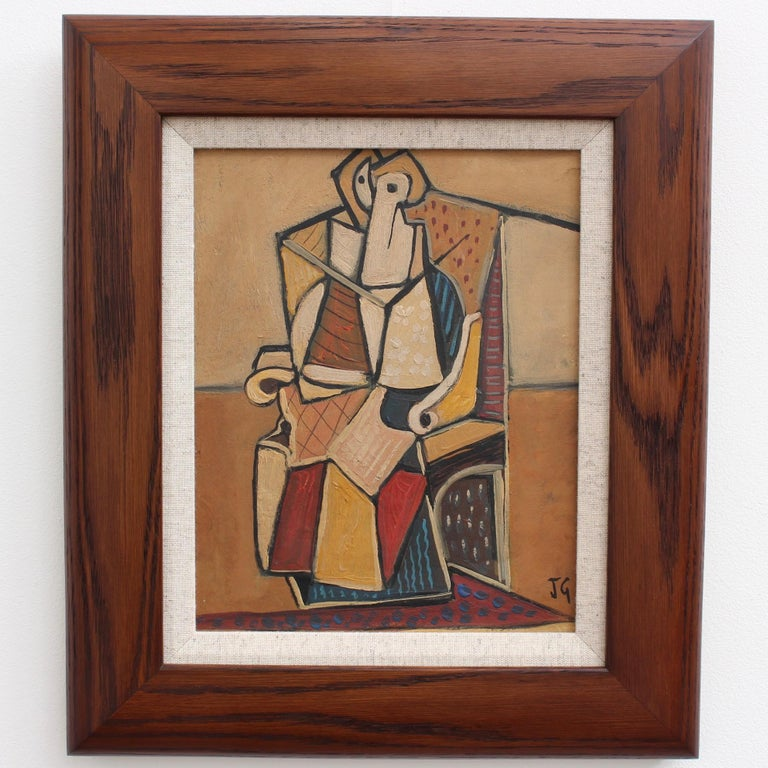 Seated Abstract Figure - Painting by J.G.