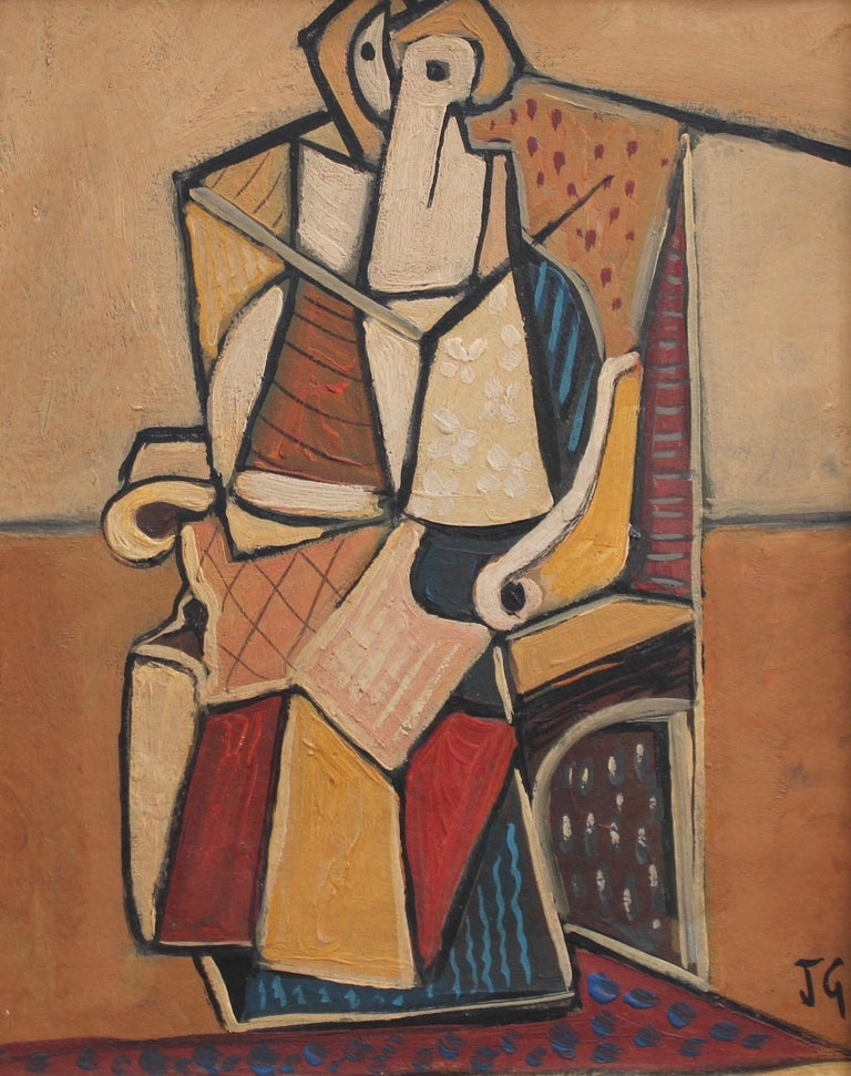 J.G. Abstract Painting - Seated Abstract Figure